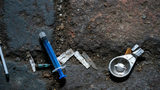 Syringes and paraphernalia used by drug users litter an alley way in Walsall Town Centre on December 06, 2018 in Walsall, England.
