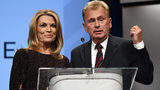 """""""Wheel of Fortune"""" hosts Vanna White (left) and Pat Sajak speak as they are inducted into the National Association of Broadcasters Broadcasting Hall of Fame on April 9, 2018, in Las Vegas."""