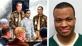 Lee Boyd Malvo, seen at right in a Virginia prison mugshot, is pictured in a courtroom sketch, left, during sentencing in 2004 for the shooting death of FBI analyst Linda Franklin, a victim of Malvo and John Muhammad, known as the Beltway snipers.