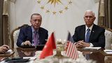 Vice President Mike Pence meets with Turkish President Recep Tayyip Erdogan at the Presidential Palace for talks on the Kurds and Syria, Thursday, Oct. 17, 2019, in Ankara, Turkey.