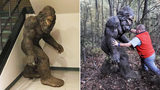 """The statue's temporary home at the Avery Sheriff's Office and Chief Detective Frank """"Littlefoot"""" Catalano wrestling the Sasquatch into submission."""