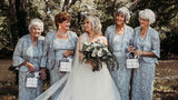 Bride and grooms' grandmothers serve as flower girls at her wedding