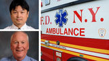 Lt. Raymond Wang, upper left, of the New York City Fire Department, suffered an aortic aneurysm Oct. 17, 2019., as he responded to the scene where fellow EMT Liam Glinane, bottom left, had a stroke while driving an ambulance. Both men survived.