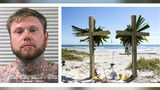 Adam Curtis Williams, 33, of Utah, is wanted in connection with the killings of a New Hampshire couple who were found buried on a Texas beach Oct. 27, 2019. A makeshift memorial for James and Michelle Butler is seen on Padre Island Monday, Nov. 4.